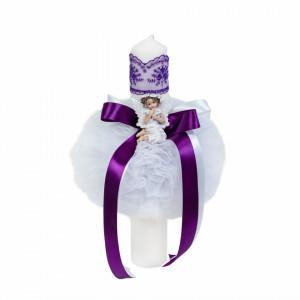 Lumanare botez glob cu ingeras si trusou botez dantela, decor Mov, Denikos® 610