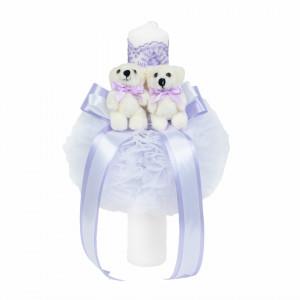 Lumanare botez glob cu ursuleti si trusou botez in landou, decor Lila, Denikos® 590