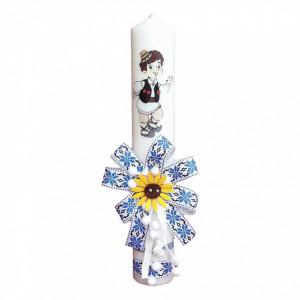 Lumanare botez pentru baietel, decorata traditional, Denikos® 668