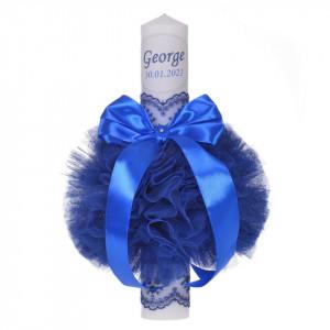 Lumanare botez personalizata, decor albastru cu tul si dantela, Denikos® 727