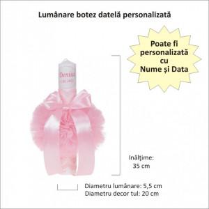 Lumanare botez personalizata, decor roz cu tul si dantela, Denikos® 722