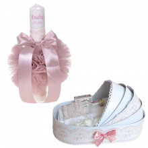 Lumanare botez personalizata si trusou botez in landou, decor Roz pudra, Denikos® 780