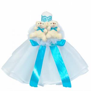 Lumanare botez tul alb cu ursuleti si trusou botez in landou, decor Turcoaz, Denikos® 600