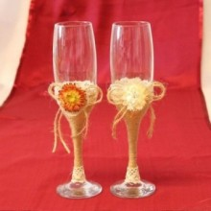 Pahare nunta traditionale iuta si floricele P18F