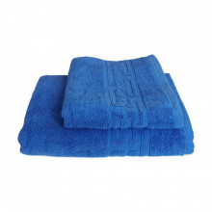 Set 2 prosoape groase si pufoase, bumbac, model grecesc, Albastru,Denikos® 239