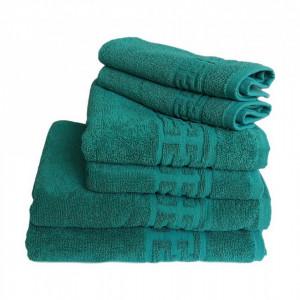 Set 6 prosoape groase si pufoase, bumbac, model grecesc, Verde, Denikos® 285