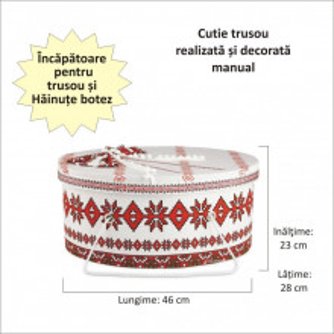 Set costum botez traditional fetita si cutie trusou asortata, Denikos® 993