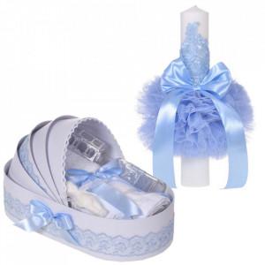 Set elegant lumanare botez si trusou botez in landou, decor dantela Bleu, Denikos® 886