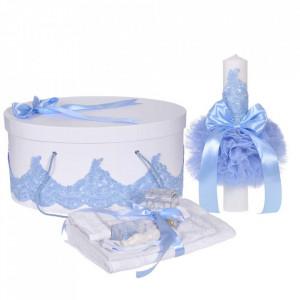 Set elegant trusou botez, cutie trusou si lumanare, decor dantela Bleu diafana, Denikos® 958
