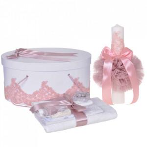 Set elegant trusou botez, cutie trusou si lumanare, decor dantela Roz pudra diafana, Denikos® 956
