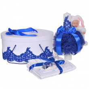 Set elegant trusou botez, cutie trusou si lumanare iepuras pufos, dantela si fundite, decor Albastru, Denikos® 930