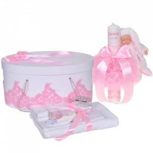 Set elegant trusou botez, cutie trusou si lumanare personalizata cu nume, decor dantela Roz cu iepuras, Denikos® 944