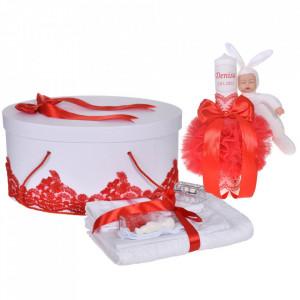 Set elegant trusou botez, cutie trusou si lumanare personalizata cu nume, decor dantela Rosie cu iepuras, Denikos® 946