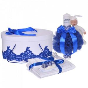 Set elegant trusou botez, cutie trusou si lumanare personalizata cu nume, decor dantela Albastra cu iepuras, Denikos® 948