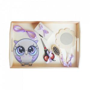Set tavita mot simpla, fetita 1 an, fundite lila, decor bufnita, Denikos® 208