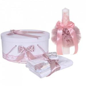 Set trusou botez, cutie trusou si lumanare, decor elegant dantela Roz pudra, Denikos® 920