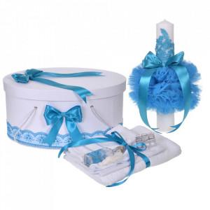 Set trusou botez, cutie trusou si lumanare, decor elegant dantela Turcoaz, Denikos® 924