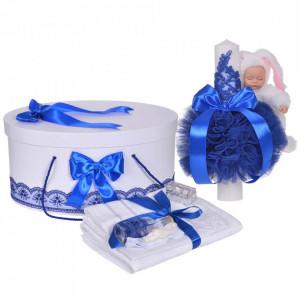 Set trusou botez, cutie trusou si lumanare iepuras pufos, dantela si fundite, decor Albastru, Denikos® 894