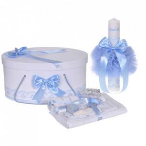 Set trusou botez, cutie trusou si lumanare personalizata cu nume, decor Bleu, Denikos® 904