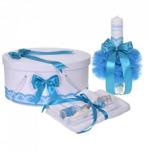 Set trusou botez, cutie trusou si lumanare personalizata cu nume, decor Turcoaz, Denikos® 906