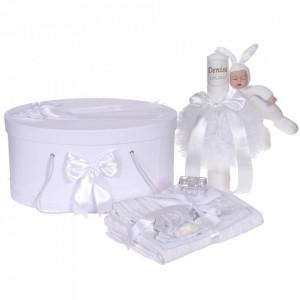 Set trusou botez, cutie trusou si lumanare personalizata cu nume, decor Alb cu iepuras, Denikos® 916