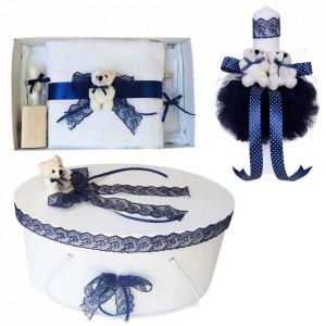 Set trusou botez, cutie trusou si lumanare, Ursulet, dantela bleumarin, Denikos® 469