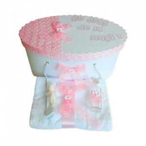 Set trusou botez si cutie trusou personalizata, decor dantela, Denikos® 218