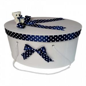 Set trusou botez si cutie trusou, Ursulet, fundita bleumarin cu buline, Denikos® 25