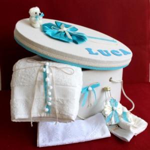 Trusou botez si cutie decorata cu fundite si dantela turcoaz NKTR007