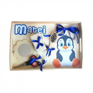 Set tavita mot, baietel 1 an, decor pinguin Denikos® 183