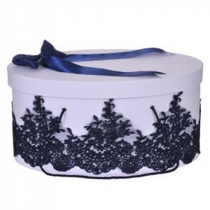 Cutie trusou botez dantela bleumarin eleganta si o fundita asortata, Denikos® 823