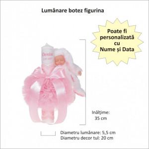 Lumanare botez glob iepuras pufos si trusou botez in landou, decor Roz cu floricele, Denikos® 771