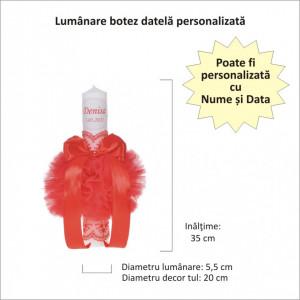 Lumanare botez personalizata, decor rosu cu tul si dantela, Denikos® 723