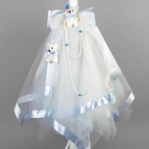 Lumanare botez ursuleti bleu LB008B