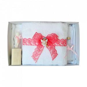 Set dantela trusou botez, cutie trusou si lumanare, Ingeras, decor Corai, Denikos® 568