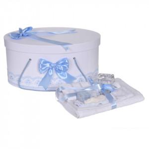 Set trusou botez si cutie trusou, dantela si fundite, decor Bleu, Denikos® 843