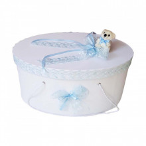 Set trusou botez si cutie trusou, Ursulet, dantela bleu, Denikos® 457