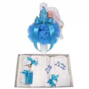 Trusou botez cu mesaj si lumanare eleganta glob cu dantela si iepuras pufos, decor turcoaz, Denikos® 763