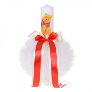 Trusou botez si lumanare cu ursulet, decor rosu, Denikos® 127