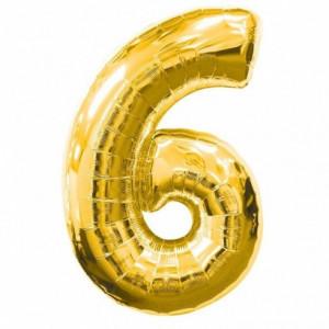 Balon folie cifra 6 auriu