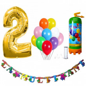 Butelie heliu, cifra 2 balon folie, banner si 10 baloane latex