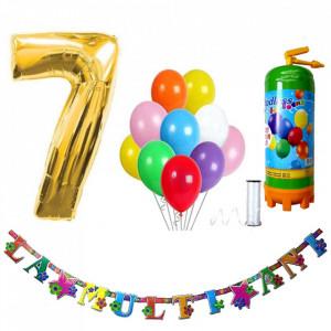 Butelie heliu, cifra 7 balon folie, banner si 10 baloane latex