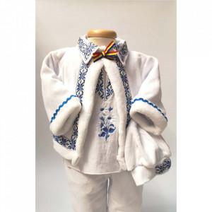 Costum popular botez baietel, broderie Bleu, Denikos® 675