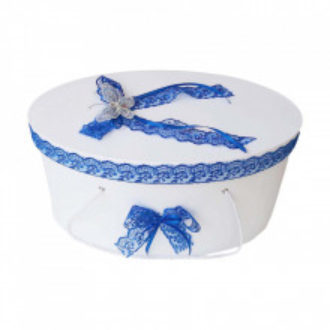Cutie trusou botez dantela albastra si fluturas, Denikos® 381