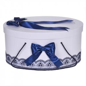 Cutie trusou botez dantela bleumarin si fundite asortate, Denikos® 814