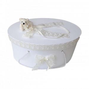 Cutie trusou botez dantela crem / ivoire si ursulet, Denikos® 397