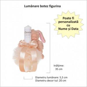 Lumanare botez cu iepuras, personalizata si trusou botez in landou, decor Ivoire cu floricele, Denikos® 800