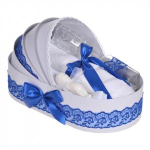 Lumanare botez cu iepuras, personalizata si trusou botez in landou, decor dantela Albastra, Denikos® 876
