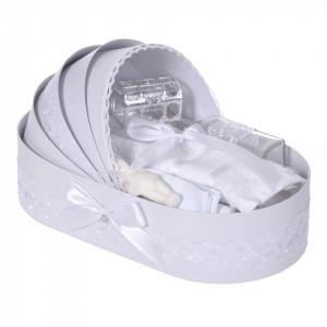 Lumanare botez cu iepuras, personalizata si trusou botez in landou, decor dantela Alba, Denikos® 880