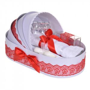 Lumanare botez cu iepuras pufos si trusou botez in landou, decor dantela Rosie, Denikos® 856